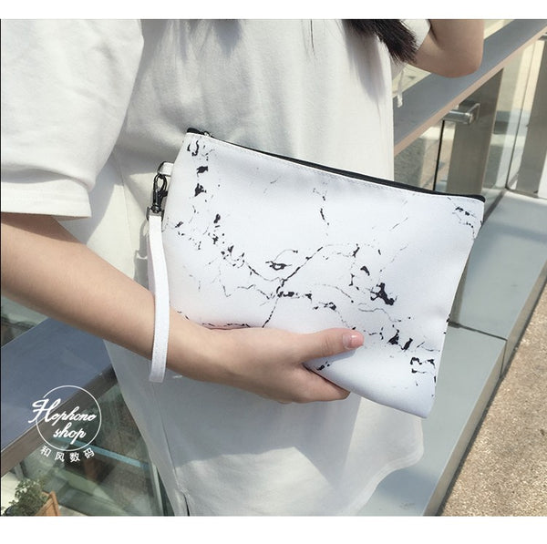 Marble Clutch/ Makeup Pouch