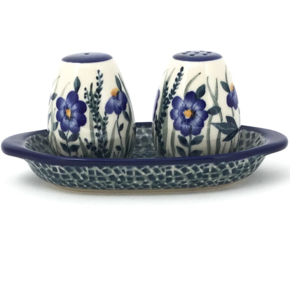 Salt & Pepper Set w/Tray in Wild Blue