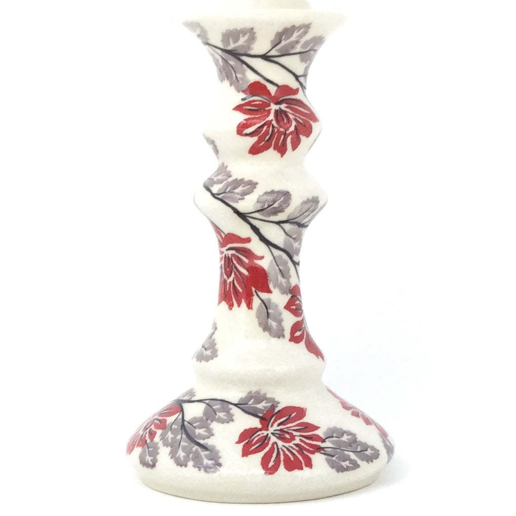 Tall Candle Holder in Red & Gray
