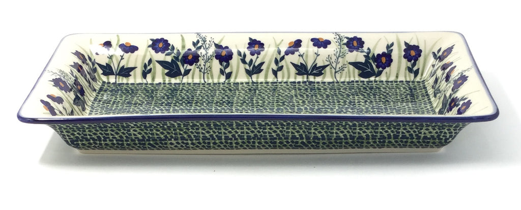 Polish Pottery Md Rect. Server w/Lip in Wild Blue Wild Blue
