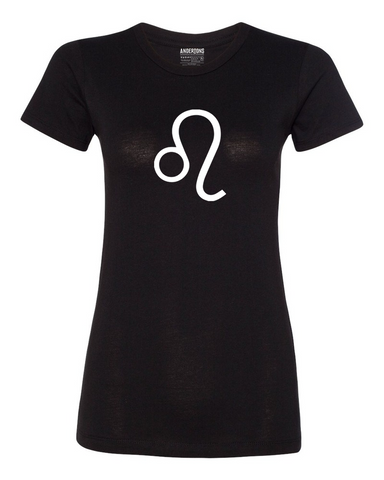 Leo Zodiac Sign T-Shirt for Women in Black and White