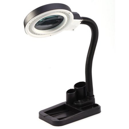 40 LED 5X 10X Magnifier Desk Lamp, LED Lighted Desktop Magnifier with Glass Lens for Hobby, Crafts, Inspection, Reading Books, Newspapers, Jewelry, Sewing