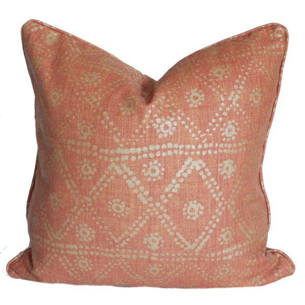 Diamond Zig Zag Coral Pillow