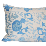 Found Embroidered Suzani Blue Pillow