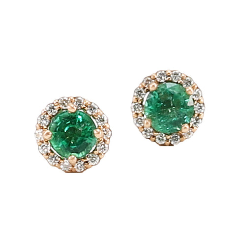 Colombian Emerald & Diamond Studs