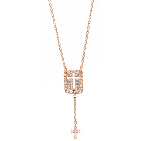 Cut Out Cross Necklace with Diamonds