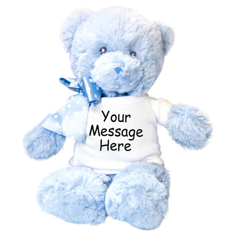 Personalized Teddy Bear - 12 inch Blue Baby Bear by Aurora Plush