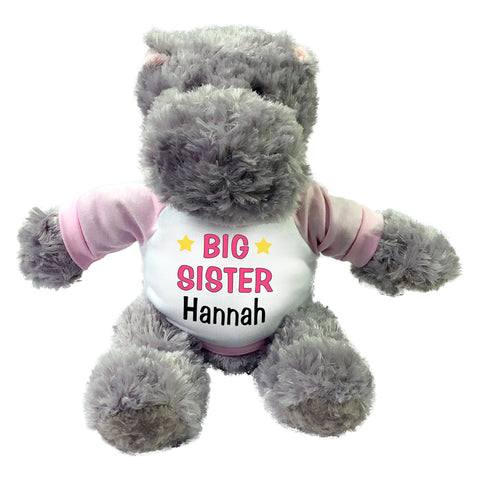 "Personalized Big Sister Hippo - 12"" Stuffed Hippopotamus"