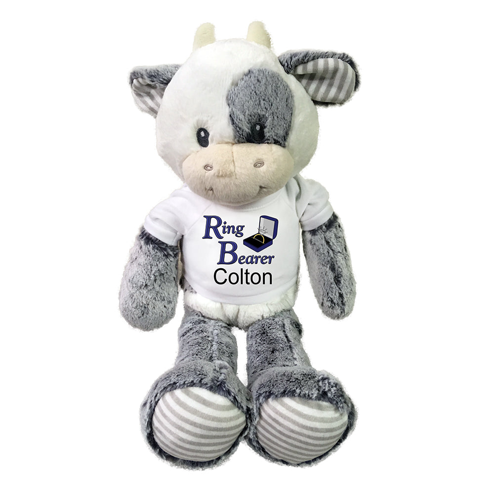 "Ring Bearer Stuffed Cow - Personalized 20"" Plush Coby Cow"
