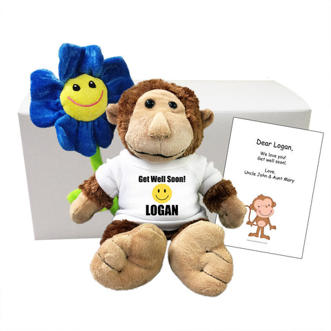Get Well Soon Personalized Plush Monkey Gift Set