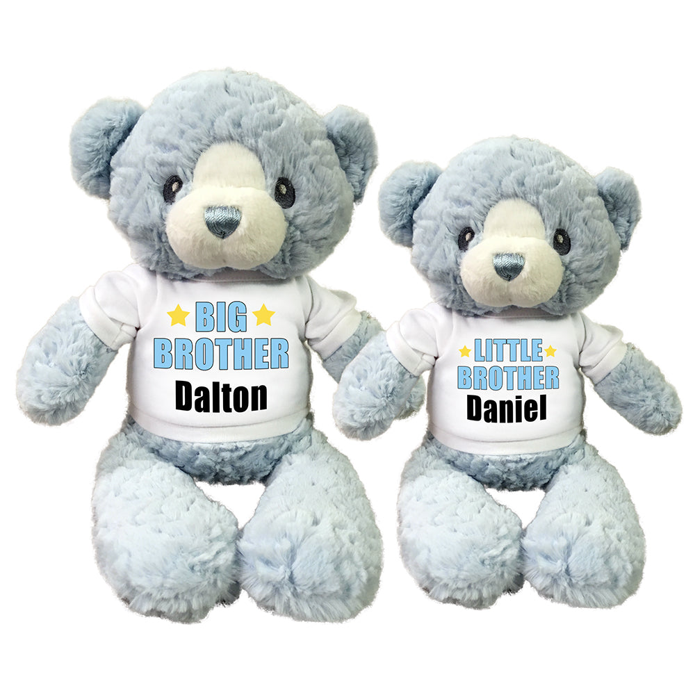 "Big Brother / Little Brother Personalized Teddy Bears - Set of 2 Blue Huggy Bears, 13"" and 11"""
