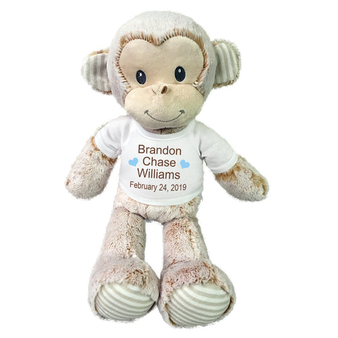 "Personalized Stuffed Monkey for Baby Boy or Girl- 20"" Marlow Monkey, Ebba Baby Collection"