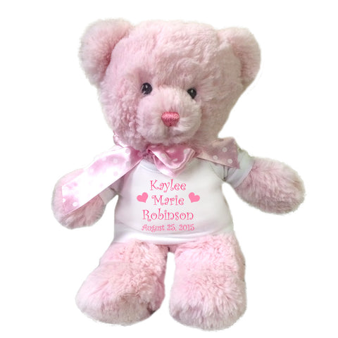 "Personalized Teddy Bear for Baby Girl - 12"" Pink Baby Bear"