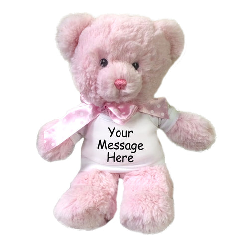 Personalized Teddy Bear - 12 inch Pink Baby Bear by Aurora Plush