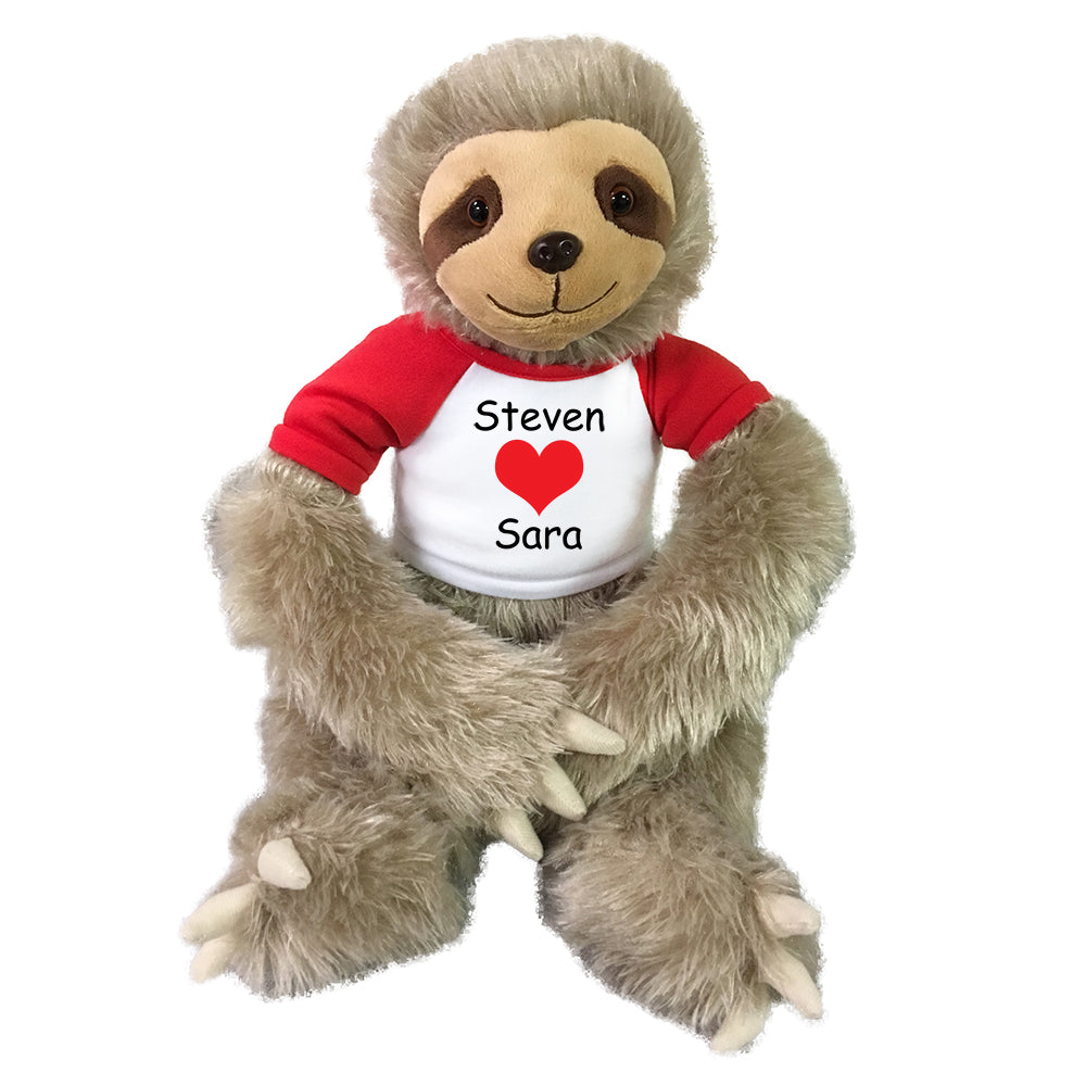 "Valentine Sloth  -  Personalized 18"" Plush Tan Sloth"
