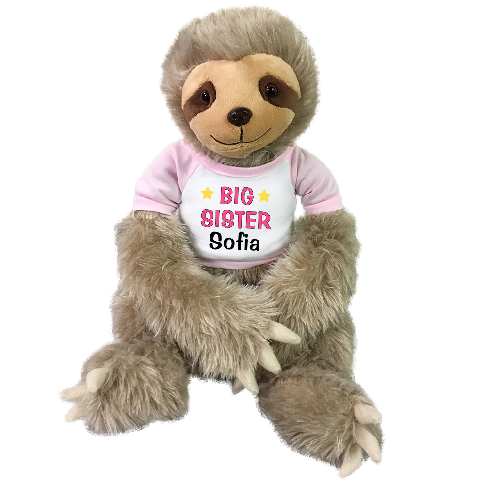 "Personalized Big Sister Sloth - Personalized 18"" Tan Plush Sloth"