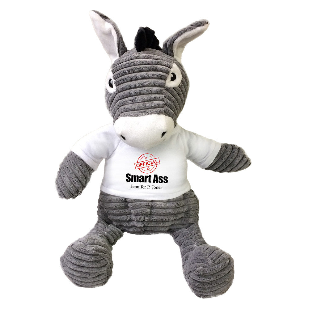 "Personalized Smart Ass Stuffed Donkey, 16""Plush Humorous Gift"