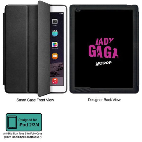 Universal Music Officially Licensed Lady Gaga -Style 2 Tablet Designer BLACK SMART CASE for APPLE IPAD 2,IPAD 3,IPAD 4,