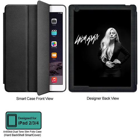 Universal Music Officially Licensed Lady Gaga -Style 3 Tablet Designer BLACK SMART CASE for APPLE IPAD 2,IPAD 3,IPAD 4,