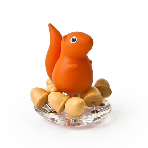 Squirrel Acorn Pushpins Set (Orange)