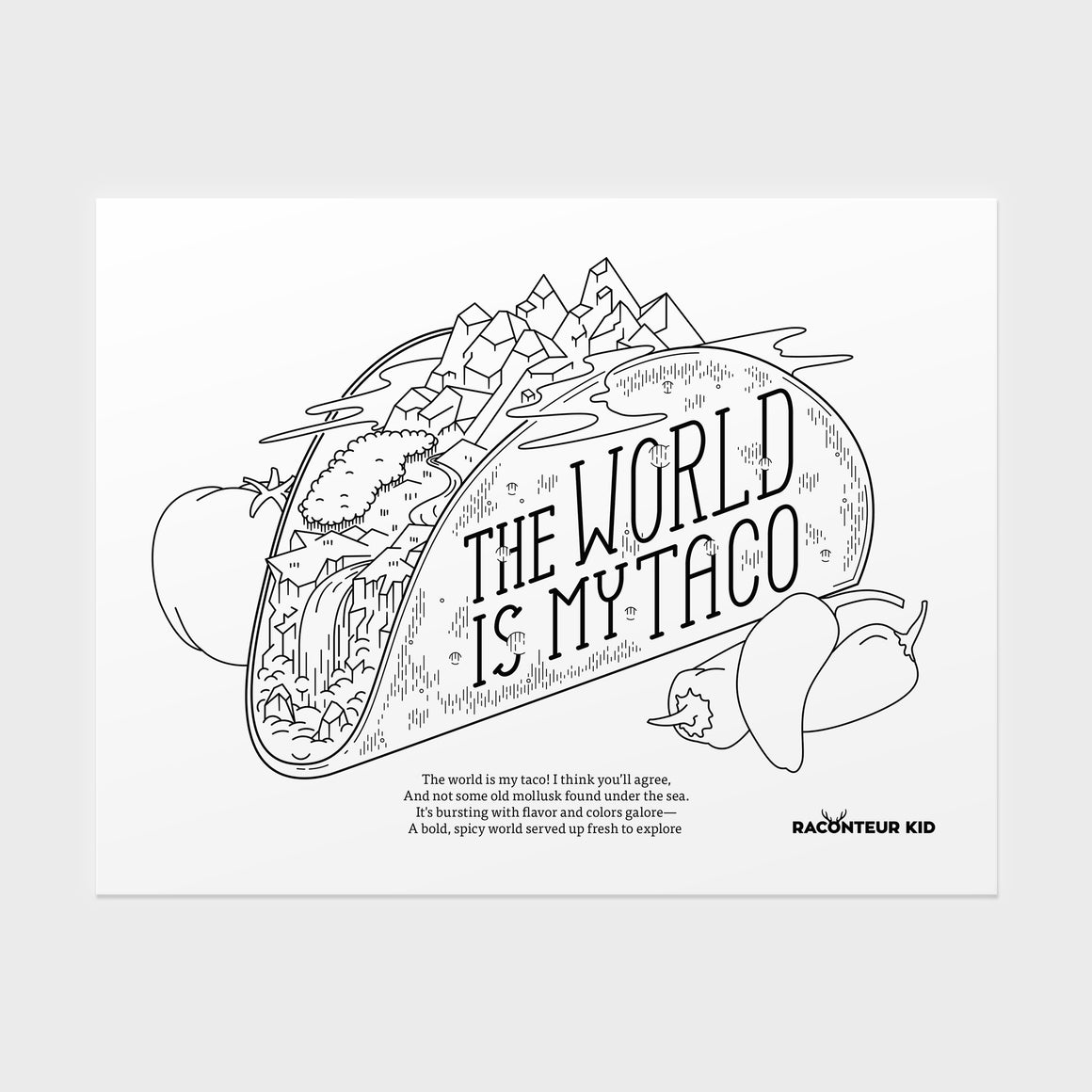 The World Is My Taco - Coloring Sheet