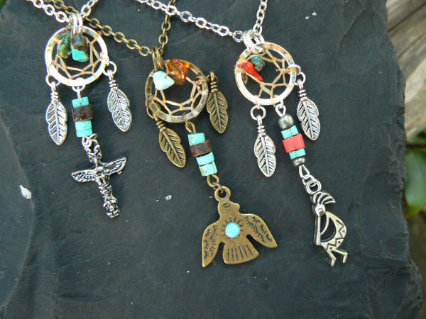 Tribal Fusion Necklace,tribal dreamcatcher necklace, Kokopelli ,Thunderbird, or Totem