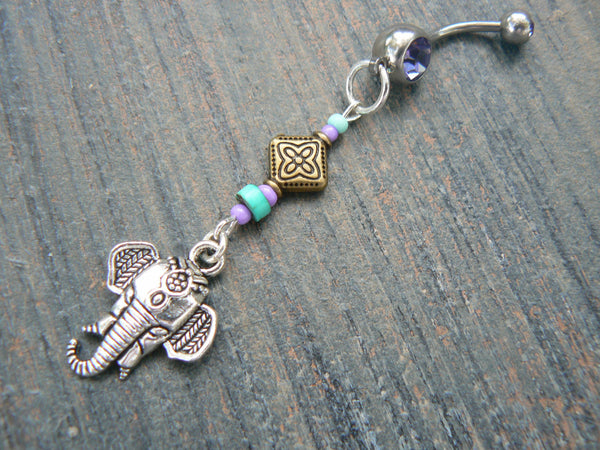 Moroccan elephant belly ring  purple in zen yoga Indie Moroccan boho hipster new age gypsy hippie belly dancer beach and hipster style