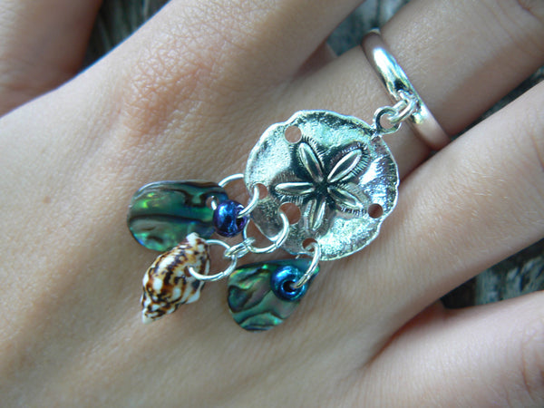 sand dollar  charm ring abalone mermaid  siren pendant in boho gypsy hippie hipster beach resort and fantasy style