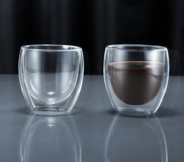 Minimal Double Wall Espresso Glass Cup, 270ml / 9oz - Pack of Two