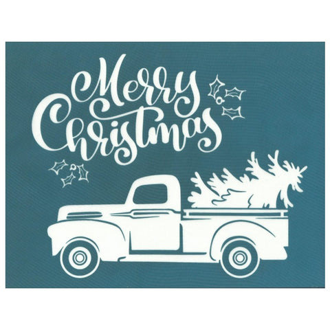 Silk Screen Printing Design Stencil, Christmas Tree Vintage Truck