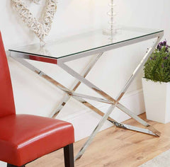 Anthea Glass & Chrome Console Table