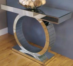 Contemporary Mirrored Glass Console Table - Round Moon