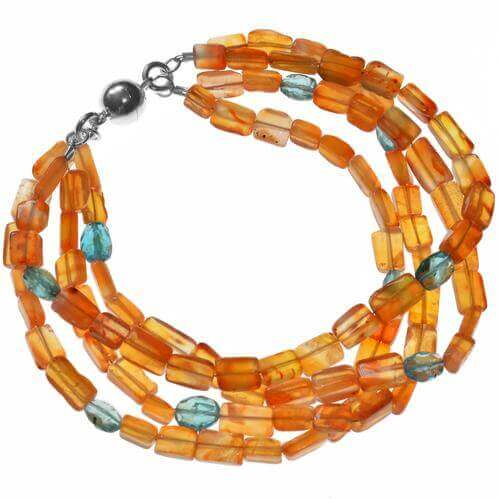 Orange Blue Gemstone Bead Silver Bracelet from ASHANTI Jewels