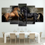 Wild Stallions Wall Art Canvas - 5 Pieces