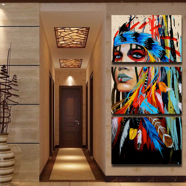 Native American Indian Wall Art Canvas - 3 Pieces