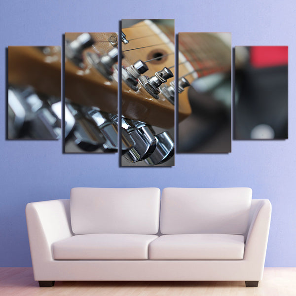 Zoomed Guitar Neck Wall Art Canvas - 5 Pieces