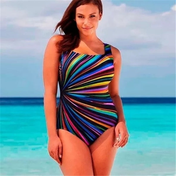 Multi-Color Plus Size Striped Print Monokini Swim Suit