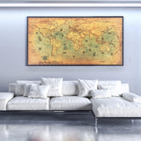 Retro World Nautical Map Wall Art