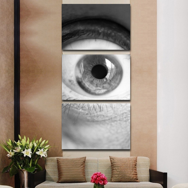 3PC Horizontal Big Eye Wall Art Canvas