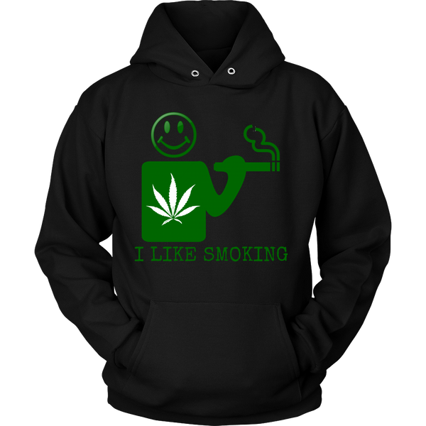 Unisex I Like Smoking Hoodie - Green Logo