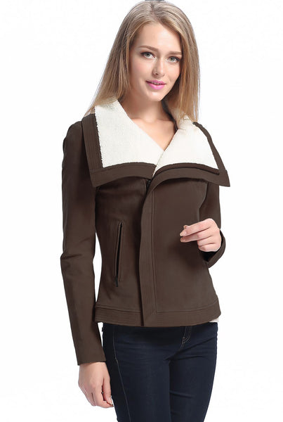"BGSD Women's ""Callie"" Sherpa Suede Leather Jacket - Plus Short"