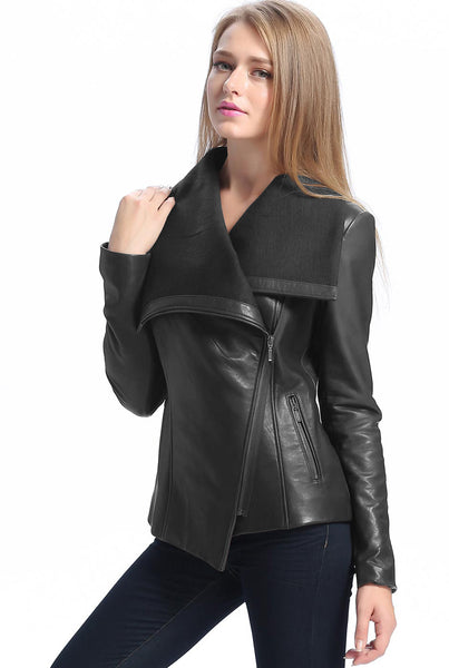 "BGSD Women's ""Lily"" New Zealand Leather Drape Jacket - Short"