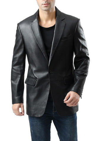 "BGSD Men's ""Nicholas"" Classic One-Button New Zealand Lambskin Leather Blazer"