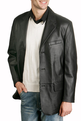 bgsd mens classic three button lambskin leather blazer 3