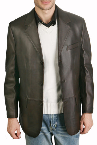bgsd mens classic three button lambskin leather blazer 2