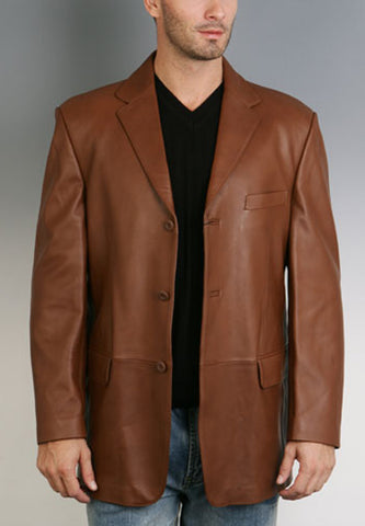 bgsd mens classic three button lambskin leather blazer