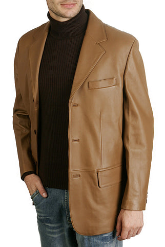 bgsd mens classic three button lambskin leather blazer 1