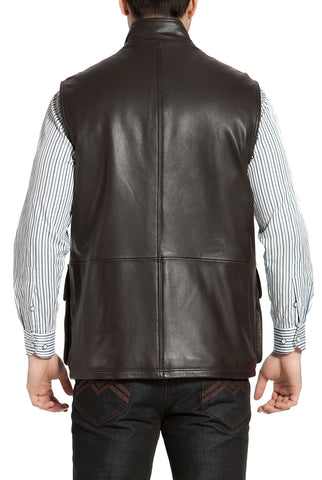 Landing Leathers Men's Goatskin Leather Munitions Vest - Tall