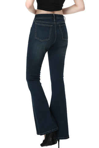 phistic Women's Ultra Stretch Rich Indigo Flare Jeans