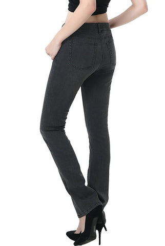 phistic Women's Ultra Stretch Gray Straight Leg Jeans
